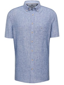 Fynch-Hatton Premium Soft Linnen Short Sleeve Overhemd Navy