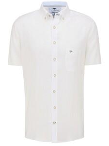 Fynch-Hatton Premium Soft Linnen Short Sleeve Overhemd Wit