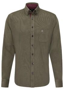 Fynch-Hatton Soft Corduroy Uni Stripe Overhemd Eucalyptus