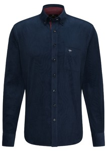 Fynch-Hatton Soft Corduroy Uni Stripe Overhemd Navy