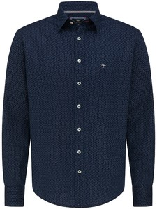 Fynch-Hatton Soft Denim Fine Pattern Kent Overhemd Navy