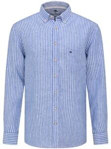 Fynch-Hatton Soft Linen Classics Fine Stripe Shirt Blue