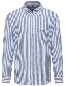 Fynch-Hatton Soft Linnen Classics Bold Stripe Overhemd Navy