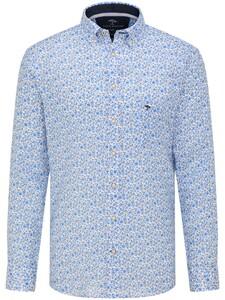 Fynch-Hatton Soft Linnen Fine Floral Overhemd Blauw