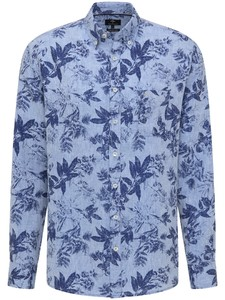 Fynch-Hatton Soft Linnen Leaf Pattern Overhemd Blauw