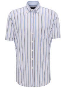Fynch-Hatton Stripe Button Down Overhemd Earth-Blue