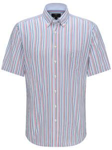Fynch-Hatton Stripe Button Down Overhemd Watermelon-Caribbean