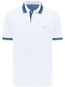 Fynch-Hatton Striped Subtle Contrast Polo Wit