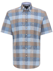 Fynch-Hatton Structure Check Button Down Overhemd Earth-Blue
