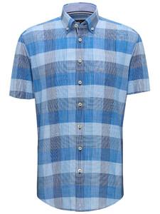 Fynch-Hatton Structure Check Button Down Overhemd Navy-Blauw