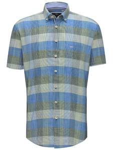 Fynch-Hatton Structure Check Button Down Overhemd Palmtree-Blue