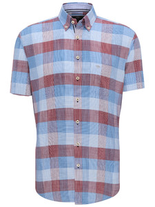 Fynch-Hatton Structure Check Button Down Overhemd Sangria-Blue