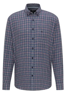 Fynch-Hatton Structured Combi Check Overhemd Blauw