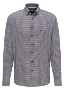 Fynch-Hatton Structured Combi Check Overhemd Grijs