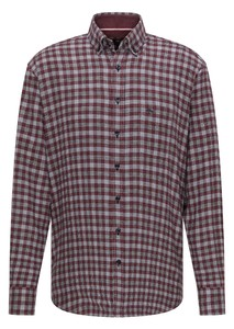 Fynch-Hatton Structured Combi Check Overhemd Mauve