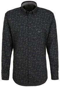 Fynch-Hatton Subtle Flowers Flannel Button Down Shirt Anthra