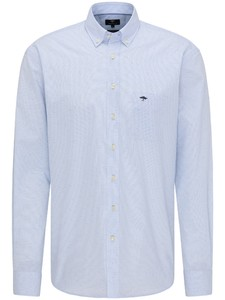 Fynch-Hatton Subtle Pattern Button Down Overhemd Blauw