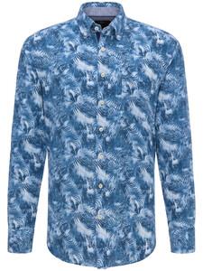 Fynch-Hatton Summer Blend Palmtree Linnen Katoen Overhemd Blue-Palmtree