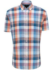 Fynch-Hatton Summer Check Linnen Katoen Overhemd Mandarin-Blue