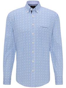 Fynch-Hatton Summer Story Leaves Overhemd Blauw