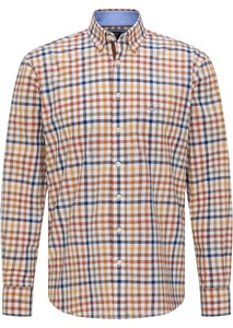 Fynch-Hatton Supersoft Combi Check Overhemd Toscana-Taupe