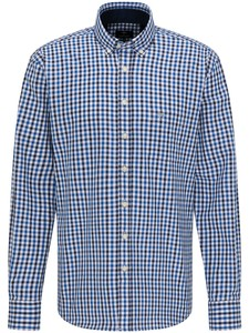 Fynch-Hatton Twill Check Overhemd Navy-Blauw