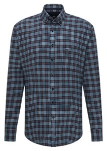 Fynch-Hatton Twill Fond Check Overhemd Navy