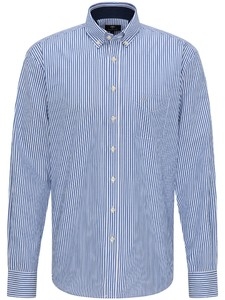 Fynch-Hatton Twill Stripe Button Down Overhemd Blauw
