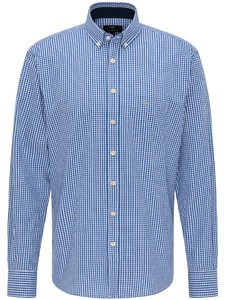 Fynch-Hatton Twill Vichy Button Down Overhemd Blauw