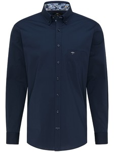 Fynch-Hatton Uni Button Down Natural Stretch Overhemd Navy