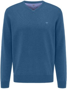Fynch-Hatton Uni Cotton V-Neck Pullover Azure