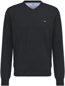 Fynch-Hatton Uni Cotton V-Neck Pullover Charcoal