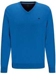 Fynch-Hatton V-Neck Cotton Polyamide Pullover Royal