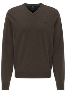 Fynch-Hatton V-Neck Elbow Patches Lambswool Trui Arabica