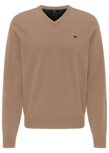 Fynch-Hatton V-Neck Elbow Patches Lambswool Trui Camel
