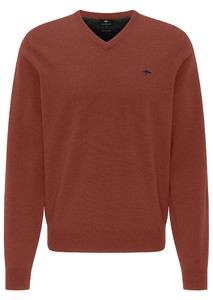 Fynch-Hatton V-Neck Elbow Patches Lambswool Trui Terracotta