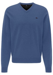 Fynch-Hatton V-Neck Elbow Patches Lambswool Trui Wave