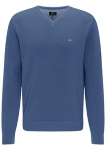 Fynch-Hatton V-Neck Fine Contrasts Trui Indigo