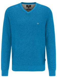Fynch-Hatton V-Neck Fine Structure Trui Crystalblue