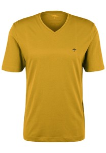 Fynch-Hatton V-Neck Uni Cotton T-Shirt Mosterd