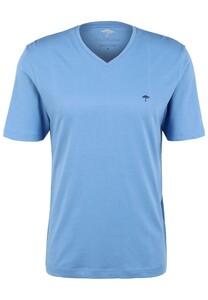 Fynch-Hatton V-Neck Uni Cotton T-Shirt Sky