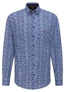 Fynch-Hatton Winter Blues Paisley Overhemd Blauw