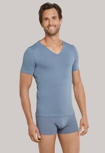 Schiesser 95/5 Shirt V-Neck Grijs-Blauw
