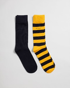 Gant 2Pack Barstripe And Solid Socks Sokken Ivy Gold