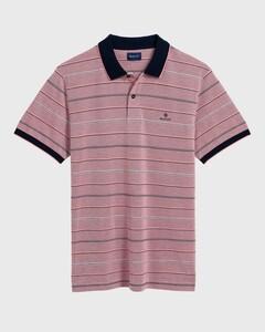 Gant 4 Color Oxford Stripe Polo Shirt Poloshirt Watermelon Red