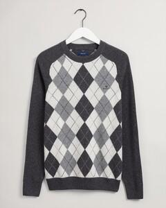 Gant Argyle C-Neck Pullover Anthracite Melange