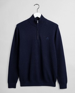 Gant Basketweave Half Zip Pullover Evening Blue