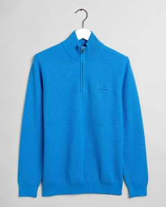 Gant Basketweave Half Zip Trui Pacific Blue