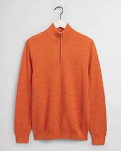 Gant Basketweave Half Zip Trui Russet Orange Melange