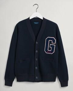 Gant Boiled Wool Cardigan Vest Avond Blauw